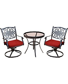 """Traditions 3-Piece Swivel Bistro Set with 30"""" Glass-top Table - 29.05"""" x 29.8"""" x 68.54"""""""
