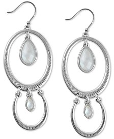 Lucky Brand Silver-Tone Stone Textured Double Drop Earrings