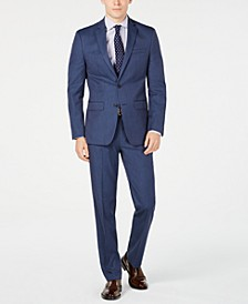 Men's Slim-Fit Flex Stretch Wrinkle-Resistant Navy Pindot Suit