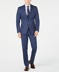 Van Heusen Men's Slim-Fit Flex Stretch Wrinkle-Resistant Navy Pindot Suit