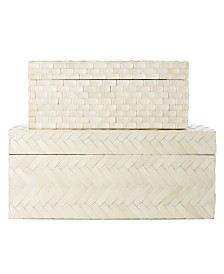 Two's Company Basket Weave Bone Boxes - Set of 2