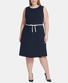Tommy Hilfiger Plus Size Bow-Waist A-line Dress