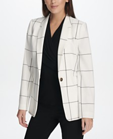 DKNY Printed One-Button Blazer