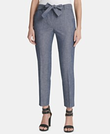 DKNY Petite Belted Essex Ankle Pants