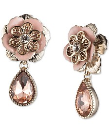 Marchesa Gold-Tone Crystal Flower Clip-On Drop Earrings