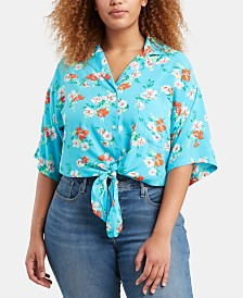 Levi's® Trendy Plus Size Clove Tropical-Print Tie-Front Shirt