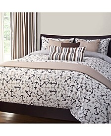 Anchors Away Sand 5 Piece Twin Luxury Duvet Set
