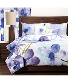 Painted Petals 6 Piece Full Size Luxury Duvet Set