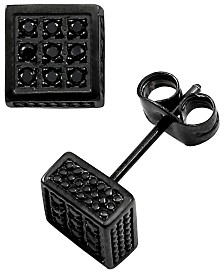 Sutton Stainless Steel Black Cubic Zirconia Square Stud Earrings