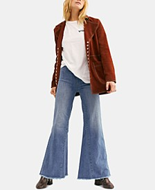 Drapey Raw-Hem Flared Pull-On Jeans