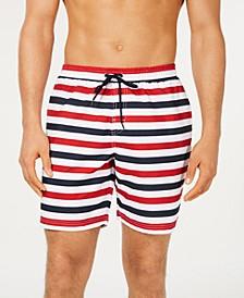 "Men's Quick-Dry Horizontal Stripe 7"" Twill Swim Trunks, Created for Macy's"