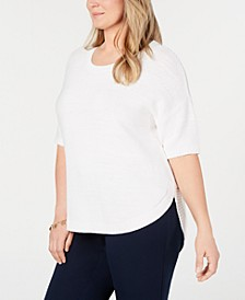 Plus Size Cotton Pullover Elbow-Sleeve Sweater, Created for Macy's