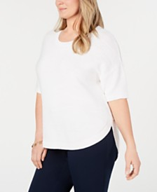 Charter Club Plus Size Cotton Pullover Elbow-Sleeve Sweater, Created for Macy's