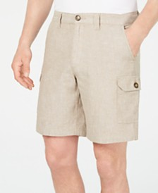 "Tasso Elba Men's Linen Blend 9"" Cargo Shorts, Created for Macy's"