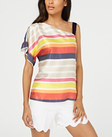 Trina Turk Striped One-Shoulder Top