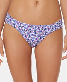 Jessica Simpson Printed Side-Shirred Hipster Bikini Bottoms