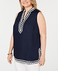 Plus Size Woven Linen Sleeveless Top, Created for Macy's