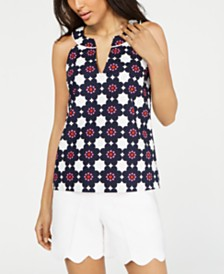 Trina Turk Printed Split-Neck Top