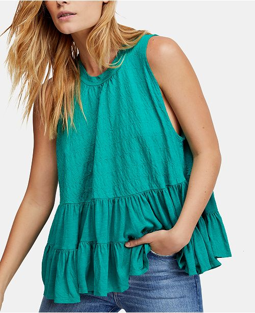 Free People Right On Time Tiered Tie Back Sleeveless Tunic