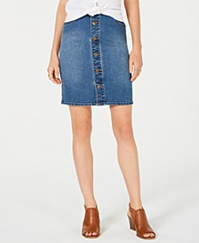 Petite Button-Down Denim Skirt, Created for Macy's