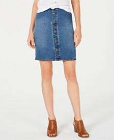 Style & Co Button-Front Denim Skirt, Created for Macy's