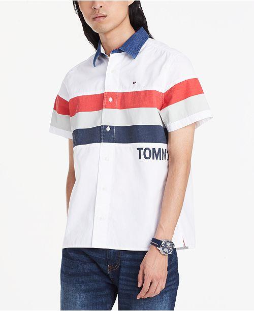27644af0 Tommy Hilfiger Men's Custom-Fit Colorblocked Stripe Shirt & Reviews ...