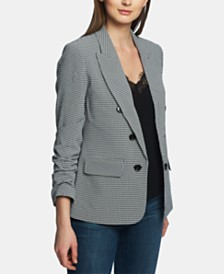 1.STATE Peaked-Lapel Checked Blazer