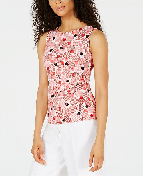 Anne Klein Printed Ruched-Side Top