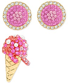 Gold-Tone 3-Pc. Set Crystal Ice Cream-Motif Stud Earrings
