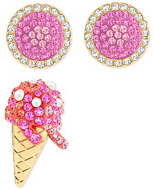Swarovski Gold-Tone 3-Pc. Set Crystal Ice Cream-Motif Stud Earrings