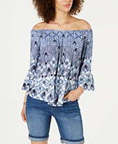 6bb2e3b16d0e Style & Co Printed Off-The-Shoulder Top, Created for Macy's