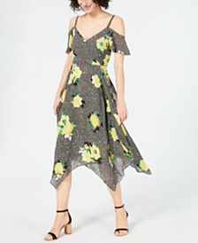 I.N.C. Mixed-Print Cold-Shoulder Dress, Created for Macy's
