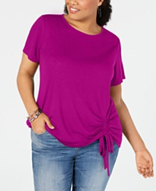 I.N.C. Plus Size Ruched Top, Created for Macy's