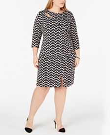I.N.C. Plus Size Geo-Print Cutout-Neck Dress, Created for Macy's