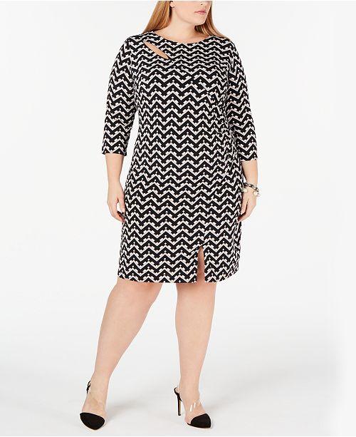 I.N.C. Plus Size Geo-Print Cutout-Neck Dress, Created for Macy\'s