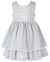 c83280d96 Bonnie Baby Baby Girls Chambray & Lace Striped Dress