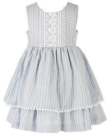 Bonnie Baby Baby Girls Chambray & Lace Striped Dress
