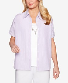 Alfred Dunner Petite Catalina Island Layered-Look Necklace Top