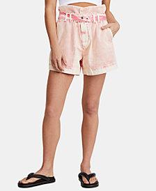 Free People Olivia Paper-Bag Waist Cotton Shorts
