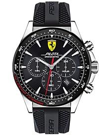 Men's Chronograph Pilota Black Silicone Strap Watch 45mm