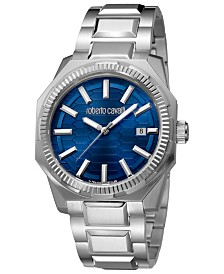 Roberto Cavalli By Franck Muller Men's Swiss Date Blue Dial Silver Bracelet Watch, 40mm