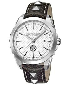 By Franck Muller Men's Swiss Quartz Brown Calfskin Leather Strap Watch, 42mm
