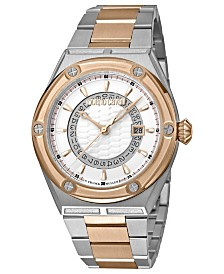 Roberto Cavalli By Franck Muller Men's Swiss Quartz Two-Tone Rose Gold Stainless Steel Bracelet Watch, 45mm