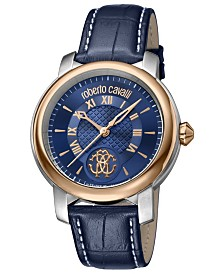 Roberto Cavalli By Franck Muller Men's Swiss Quartz Blue Calfskin Leather Strap Watch, 43mm