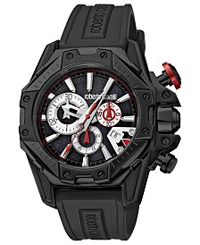 Roberto Cavalli By Franck Muller Men's Swiss Chronograph Black Rubber Strap Watch, 44mm