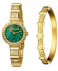 Roberto Cavalli By Franck Muller Women's Diamond Swiss Quartz Gold Stainless Steel Watch & Bracelet Gift Set, 26mm