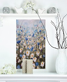 """Designart 'Glade Of Cornflowers And Daisies' Floral Metal Wall Art - 12"""" X 20"""""""