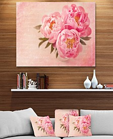 """Designart 'Peony Flowers Against Scribbled Back' Floral Metal Wall Art - 40"""" X 30"""""""