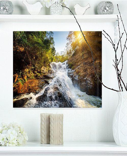 """Design Art Designart 'Waterfall Through The Forest' Landscape Metal Wall Art - 20"""" X 12"""""""