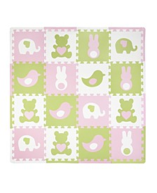 Tadpoles 16 Piece Foam Play Mat Set, Teddy and Friends